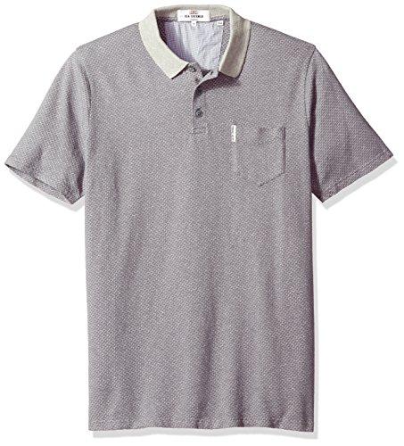- Ben Sherman Men's Retro SPOT Jacquard Jersey Polo, Silver/Grey, XXL