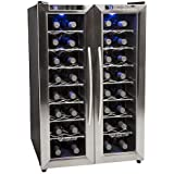EdgeStar TWR325ESS 32 Bottle Dual Zone Wine Cooler with Stainless Steel Trimmed French Doors and Digital Controls