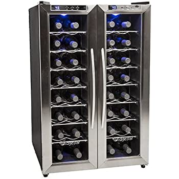 EdgeStar TWR325ESS 32 Bottle Dual Zone Wine Cooler with Stainless Steel  Trimmed French Doors and Digital