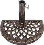 Cast Iron Half Umbrella Base - 17.7 Inch Diameter by Trademark Innovations (Bronze Finish)