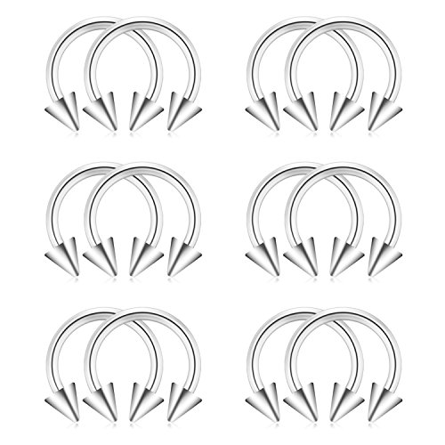 Septum Horseshoe Hoop 12PCS 16G Earring Eyebrow Tragus Lip Piercing Ring Surgical Steel Sliver Body Jewelry Piercing ()