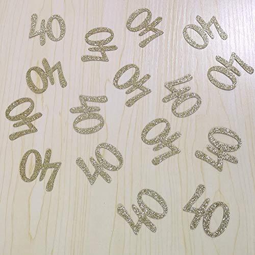 100 PCS Gold Glitter Number 40 Table Confetti 40th Birthday/Anniversary Celebrating - 40 Glitter