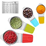 Measuring Cups Magnetic with Spout and Stackable Conversion Chart Stainless Steel for Dry and Liquid Ingredients, 60mL 80mL 120mL 240mL, Set of 4 (Sliver)
