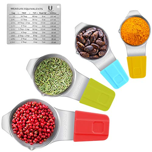 Measuring Cups Magnetic with Spout and Stackable Conversion Chart Stainless Steel for Dry and Liquid Ingredients, 60mL 80mL 120mL 240mL, Set of 4 (Sliver) ()
