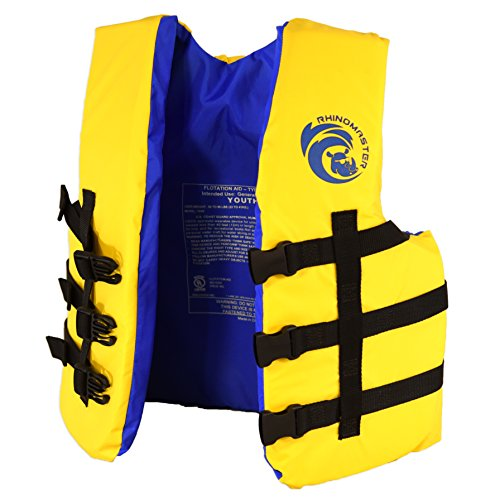 RhinoMaster Youth 50-90 lb Life Vest for Watersports, Yellow/Black, 17″ Length x 3″ Width x 18″ Height
