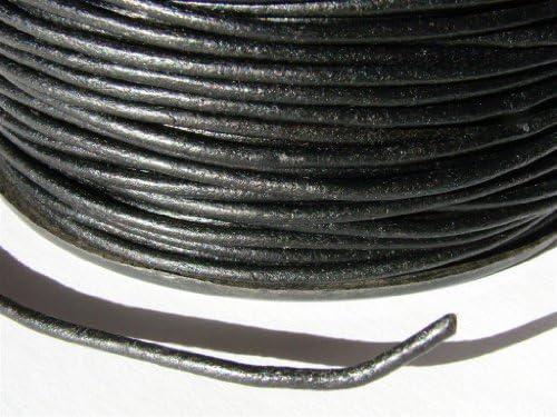 Lederband, Lederschnur, Lederriemen 5 m. Rund 2,0 mm. Schwarz