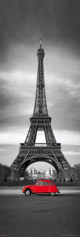 Empire 489944 - Poster, motivo: la Tour Eiffel e una 2CV rossa, 30,5x91,5 cm