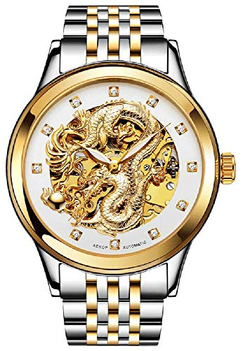 Wrist Watch White Dragon - Gosasa Men's 'Dragon Collection' Luxury Carved Dial Automatic Mechanical Waterproof Gold Watch (Men Two Tone White)