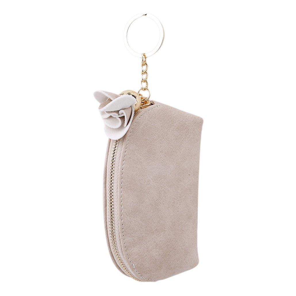 Chinget Damen Mädchen PU-Leder Mini Mappen Karte Schlüsselhalter Münzen Geldbörse Unterarmtasche (Beige)