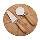Rubber Tree Wood Pizza Board with 2 Utensils 14 Inches Dia