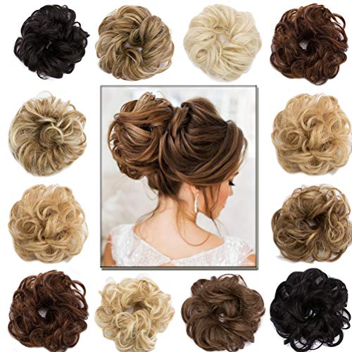 Scrunchy Updo Hair Extension Wavy Hair Bun Messy Donut Chignons Synthetic Hairpiece Ombre Blonde Brown Black
