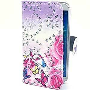 Zaki-New Arrival Butterfly Flowers Pattern PU Leather Case with Stand for Samsung Galaxy S4 I9500