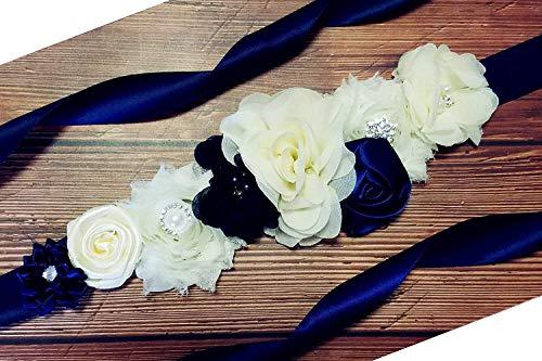 - Maternity Pregnancy Sash Belt with Flower,Floral Baby Shower Belly Sash,Flower Girl Sash (A-Navy & White)
