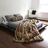 Best Home Fashion Faux Fur Throw - Full Blanket - Platinum Frost Fox - 58'W x 84'L - (1 Throw)