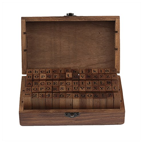 70pcs Alphabet Stamps Vintage Wooden Box Rubber Letter and Number Stamp Diary Stamper Seal Set for DIY Craft Card Making Happy Planner Scrapbooking Supplies by Wareway