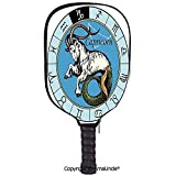 AmaUncle 3D Pickleball Paddle Racket Cover Case,Ancient Illustration of Capricorn Icon with Signs Mythology Greek Saturn Design Decorative Customized Racket Cover with Multi-Colored,Sports Accessories