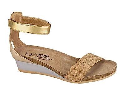 5b21739000f NAOT Footwear Women s Pixie Cork Lthr Champagne Lthr Gold Lthr Wedge Sandal  35 M
