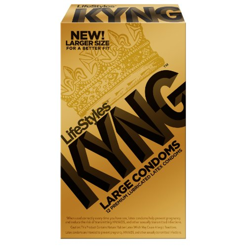 Lifestyles Kyng Gold Condoms, Large, 12-Count