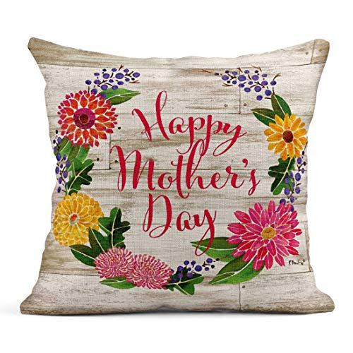 Tarolo Linen Throw Pillow Cover Case Happy Mothers Day Holidays Decorative Pillow Cases Covers Home Decor Square 18 x 18 Inches Pillowcases -
