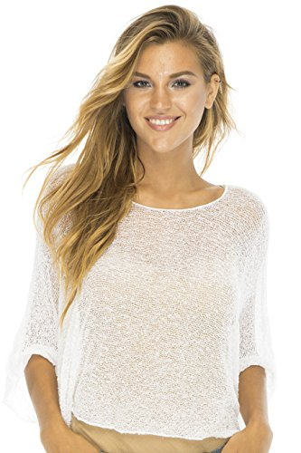 Dolman Sleeve Shrug - Blouson Top Lite Sleeves White