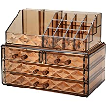 Zhiai Jewelry and Cosmetic Boxes with Brush Holder - Coffee Diamond Pattern Storage Display Cube Including 4 Drawers Whole Set