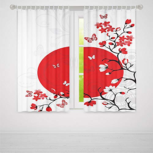 TecBillion Window Curtains,Japanese,Living Room Bedroom Curtain,Japanese Culture Inspired Artwork Cherry Blossom Sakura Tree Eastern,103Wx62L Inches
