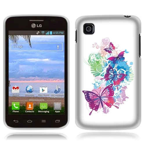 LG Optimus Dynamic II L39C Case, Fincibo (TM) TPU Silicone Protector Cover Soft Gel Skin, Pink Butterfly (Lg Optimus Dynamic Phone Cover compare prices)