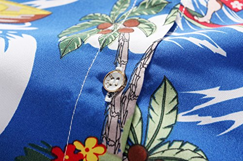 Chemisier Blouse Courte Luau Manche Tropical Casual SSLR Fonc Bleu Femme Hawaiien 4xq7wBagn