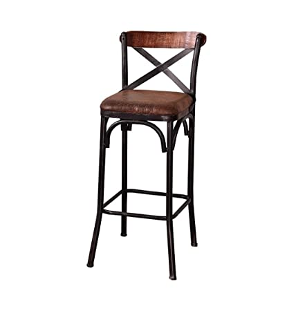 Amazon.com: Iron Art Bar Stools Industry Vintage Solid Wood Seat ...