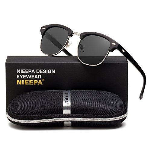 NIEEPA Semi Rimless Polarized Sunglasses Classic Brand Sun Glasses With Metal Retro Rivets (Grey Lens/Matte Black Frame/Silver Rimmed) ()