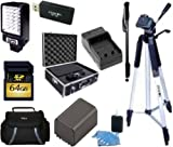 """Advanced Accessory Kit For Canon Vixia HFM50 HFM52 HFM500 HFR32 HFR30 HFR300 HFR40 HFR42 HFR400 HFR50 HFR52 HFR500 Camcorder - Includes 64GB SD Memory Card + Replacement BP727 Battery + Battery Charger + LED Video Light + Deluxe Hard Case + 57"""" Tripod +"""