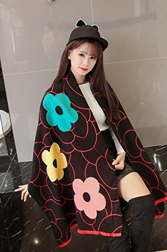 (Generic European winter autumn _cashmere_peony_ flowers _small-name-yuan,_a_ simple _black white_ Scarf shawl _shawl_dual-use_with_ women girls _stars))