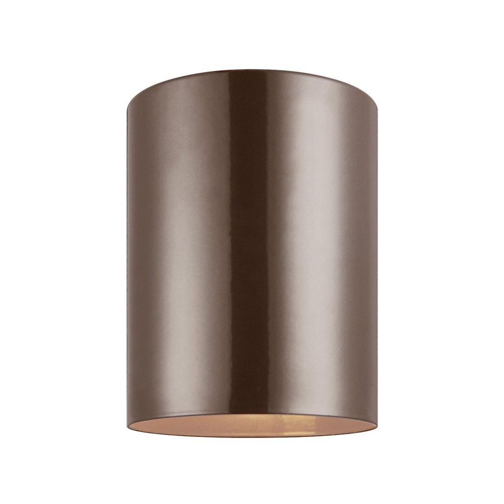 Sea Gull Lighting 7813801-10 Outdoor Cylinders One-Light Outdoor Flush Mount Ceiling Light, Bronze Finish