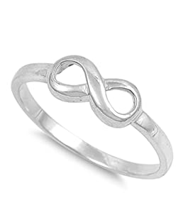 Sterling Silver Women's Plain Infinity Ring Beautiful 925 Band 5mm Size 3