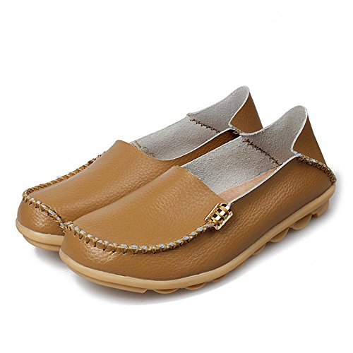 Shoes AIRIKE Sizes Khaki Casual Flat Big Slip Moccasin Women's Driving ONS Leather Loafers Soft Slippers UPqwU