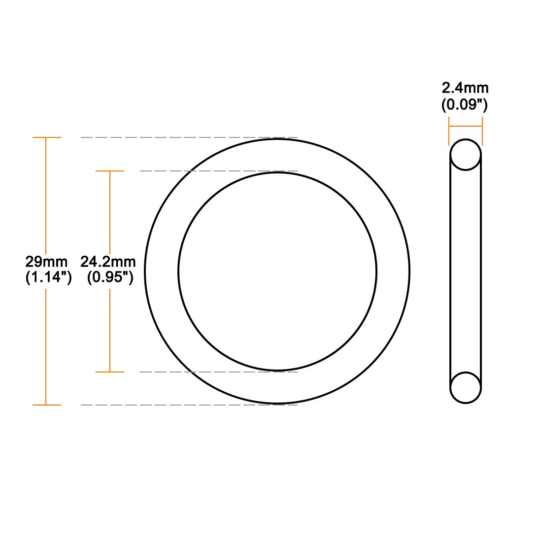 sourcing map Joint torique en caoutchouc nitrile Joint d/étanch/éit/é 17.2mm x 22mm x 2.4mm 50pcs