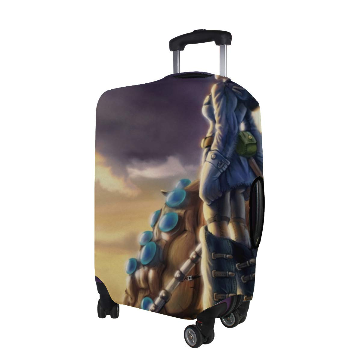 Maxm Kaze No Tani No Naushika Nausicaa Girl Pattern Print Travel Luggage Protector Baggage Suitcase Cover Fits 18-21 Inch Luggage