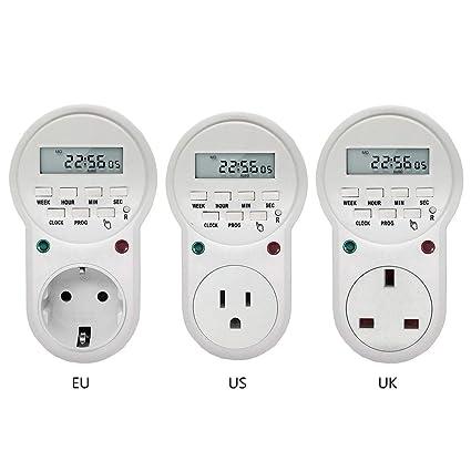 Programmable Digital Timer Switch Socket AC Electric Power UK Plug Timeswitch