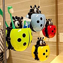 Cute Ladybug Insect Toothbrush Wall Suction Bathroom Sets Cartoon Sucker Toothbrush Holder / Suction Hooks -- GREEN