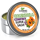 Calenula Herbal Salve - Consuelda Hierbas Calendula - Salve - Super Salve - Grande 4 oz Tin, Direct From the Herb Farm, Calendula Is an All Time Favorite Herb Balm for Dry Cracked Skin, Dermatitis, Eczema and Psoriasis. Combined Us New Uses f...