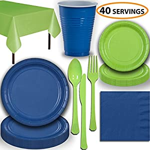 Disposable Party Supplies, Serves 40 - Blue and Lime Green - Large and Small Paper Plates, 12 oz Plastic Cups, heavyweight Cutlery, Napkins, and Tablecloths. Full Two-Tone Tableware Set