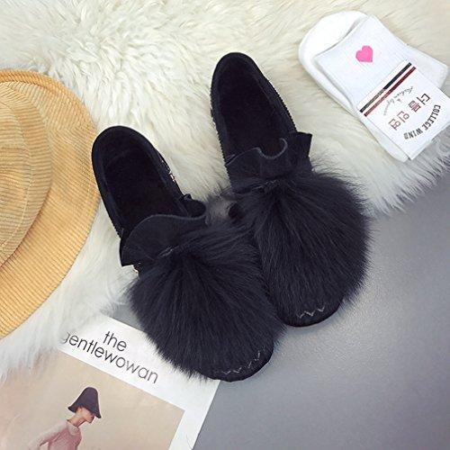 Inconnu Femmes Bottes Neige Suede Hiver Automne Plate Epais Smelle Antidérapant Laine Artificielle Classique Noir 35 CDDDR