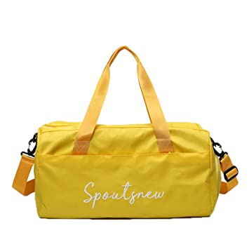 06ac949a4a8fa Skudy Henkel Fitnesstasche Damen Yoga Tasche Nylon Wasserdicht Sporttasche  Ausflug Reisetasche Verschleißfest Weekender Trainingstasche (Gelb
