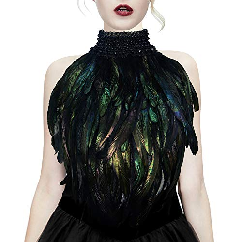 Homelex Gothic Real Black Feather Cape Shawl Shoulder Wings Choker Collar (YM-36)]()