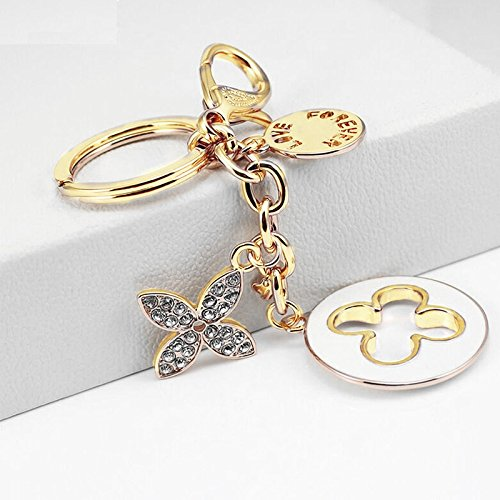 Axmerdal Charms Lucky Four Leaf Clover KeyChain Women Key Ring Gold Plated Crystal Elements Car Bag Purse Pendant Gift (Best Everyday Louis Vuitton Bag)