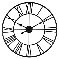 Roman Round Clock, Timelike Handmade Large Wall Clock Wrought Metal Wall Art Hanging Decorative Wall Sculpture Decor (80CM)