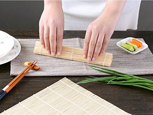 Bamboo Sushi Maker, Bamboo Sushi Rolling Kit Mat With Rice Paddle for Lover, 4 x Rolling Mats, 4 x Rice Paddle, 8 PCS