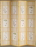 Legacy Decor 4 Panel Floral Accented Screen Room Divider, Natural Wood Frame, Printed Shoji Paper
