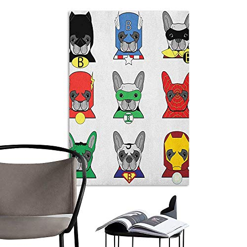 Jaydevn Art Decor 3D Wall Mural Wallpaper Stickers Superhero Bulldog Superheroes Fun Cartoon Puppies in Disguise Costume Dogs with Masks Print Multicolor Lady Room Wall W8 x - Disguise Wolf Costume