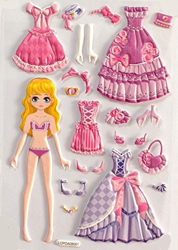 Puffy Dress Up Doll Stickers Activity Dress-Up Reusable Stickers About 4